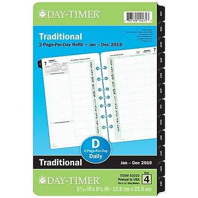 "2019 Day-Timer® Classic Two Page Per Day Refill, 12 Months, January Start, Loose-Leaf, Desk Size, 5 1/2"" x 8 1/2"" (92010-1901)"