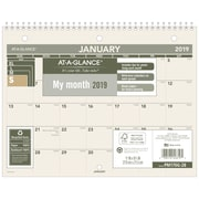 "2019 AT-A-GLANCE® Recycled Monthly Desk/Wall Calendar, 12 Months, January Start, 8 1/2"" x 11"" (PM170G-28-19)"