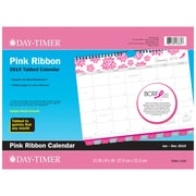 "2019 Day-Timer® Pink Ribbon Tabbed Monthly Wall Calendar, 12 Months, January Start, 11"" x 8 1/2"", Wirebound (11259-1901)"