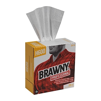 GP Brawny® Professional H600 Disposable Cleaning Towel, Tall Box, White, 200 Towels/Bx, 10 BX/CT