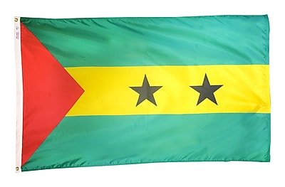 Annin Flagmakers Sao Tome & Principe Flag, 3 x 5 ft., Nylon (197133)