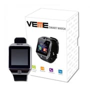 Veme Bluetooth Smart Watch with Camera & Sim Card Support for IOS and Andriod Mobiles, Silver/Black (S504-SLBK)