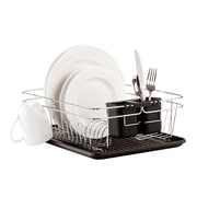 Kitchen Details Dish Rack Twisted Chrome, 3 Piece, Black (4028-BLK)
