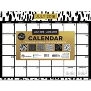 "TF Publishing July 2018-June 2019 Black White And Gold Mini Desk Pad Calendar, 12"" X 9"" (19-8716A)"