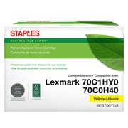 Staples Remanufactured Lexmark 70C1HY0/70C0H40 Toner Cartridge, Yellow, High Yield