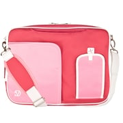 Vangoddy Nylon Messenger Business Bag Case Fits Up to 17.3 Inch Laptop, Pink White (PT_NBKLEA784_17)