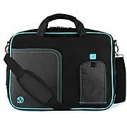 Vangoddy Nylon Messenger Business Bag Case Fits Up to 17.3 Inch Laptop, Black Aqua (PT_NBKLEA781_17)