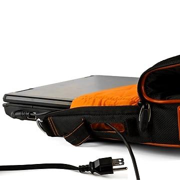 Vangoddy Nylon Messenger Business Bag Case Fits Up to 17.3 Inch Laptop, Black Orange (PT_NBKLEA786_17)