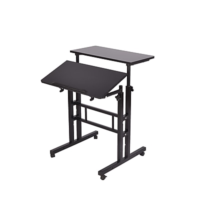 Mind Reader 2 Tier Sit and Stand Desk, Black (SDROLL-BLK)