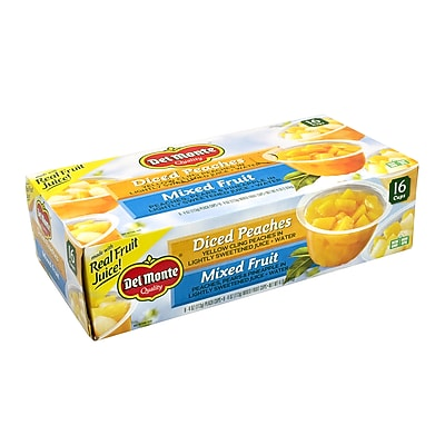 DEL Monte Diced Peaches & Mixed Fruit Cups, 4 oz, 16 Count (220-00744) 24323892