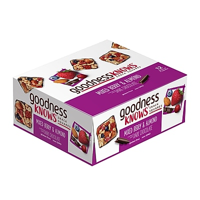 goodnessKNOWS Mixed Berries, Almond & Dark Chocolate Gluten Free Snack Square Bars, 12-Count (225-00050)