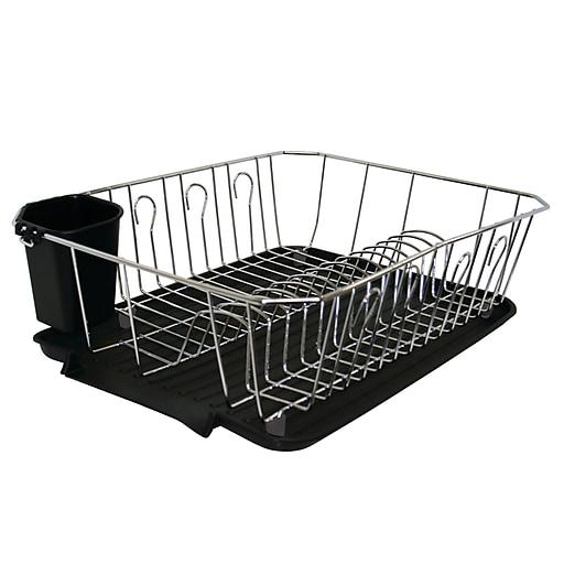 Kitchen Rack Set: Kitchen Details, 3 Piece Set Dish Rack, Chrome, Black