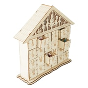 Mind Reader Festive 24 Day Advent Calendar, Compartment Wood Storage Organizer, White (HOUSE24-WHT)