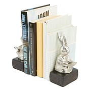 Mind Reader Heavy Duty Non-Skid Aluminum Rabbit Reading Book Bookends, Book Stands, Book Holder, Silver (RABEND-SIL)