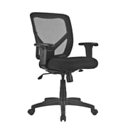 Global Mesh Mid Back Task Chair, Black, Adjustable Arms (PS637008)