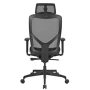 Global Mesh High Back Executive Chair with Headrest, Black, Adjustable Arms (PS637016)