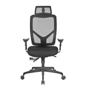 Global Mesh High Back Executive Chair with Headrest, Black, Adjustable Arms (PS637017)