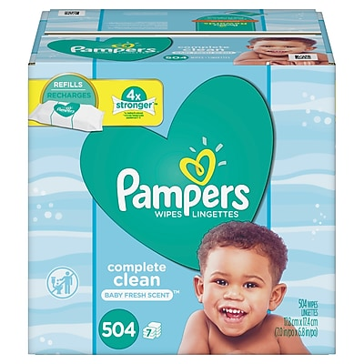 Pampers Baby Wipes Complete Clean, Scented 7X Refill (Tub Not Included), 7 Refill Packs/Carton, 504 Count