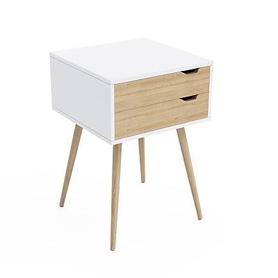 Jamesdar Blythe 2-Drawer Side Table, White (JBTAB678-KD)