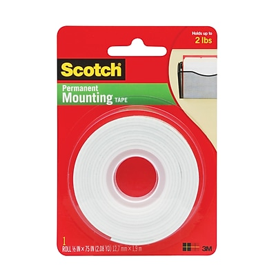 Scotch® Double Sided Indoor Mounting Tape, 1/2