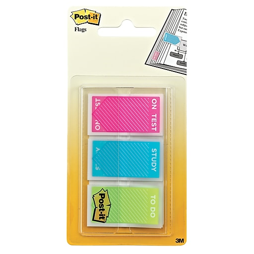"""Post-it® 'Study', 'On Test' and 'To Do' Message Flags, .94"""" Wide, Assorted Colors, 60 Flags/Pack (680-STUDY)"""