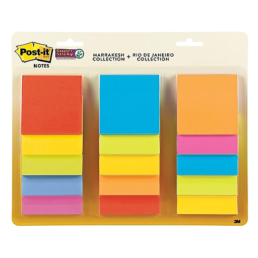"""Post-it® Super Sticky Notes, 3"""" x 3"""", Marrakesh and Rio de Janeiro Collections, 45 Sheets/Pad, 15 Pads/Pack (654-15SSMULTI)"""