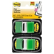 """Post-it® Flags, 1"""" Wide, Green, 100 Flags/Pack (680-GN2)"""