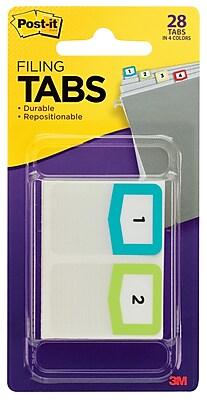 Post-it® Tabs, Pre-Printed Numbers, 1