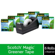 "Scotch Magic Greener Tape with C38 Desktop Dispenser, Engineered for Mending, The Original, 3/4"" x 25 yds., Boxed, 6 Rolls"