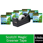 """Scotch® Magic™ Greener Tape with Dispenser, Invisible, Write On, Matte Finish, 3/4"""" x 25 yds., 1"""" Core, 6 Rolls (812-6PC38)"""