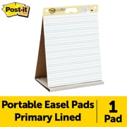 "Post-it® Super Sticky Easel Pad, 20"" x 23"", Table Top, White, Primary Ruled (563PRL)"