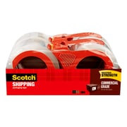 Scotch® Commercial Grade Shipping Packing Tape with Dispenser, 55 yds., Clear, 4 Rolls/Pack (3750-4RD)