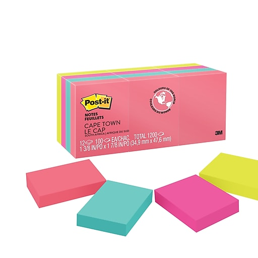 post it notes cape town collection 1 5 x 2 12 pads pack 653an