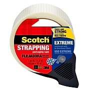 """Scotch® Extreme Shipping Strapping Tape with Dispenser, 1.88"""" x 21.8 yds., Translucent (8959-RD)"""