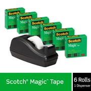 "Scotch Magic Tape with C-40 Black Dispenser, Engineered for Repairing, Trusted Favorite, 3/4"" x 27.77 yds., 6 Rolls"