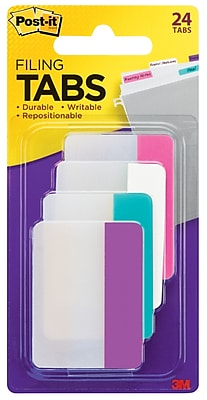 """Post-it® Filing Tabs, 2"""" Wide, Solid, Assorted Colors, 24 Tabs/Pack (686-PWAV)"""