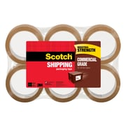 "Scotch® Commercial Grade Packing Tape, 2"" x 55 yd., Tan, 6 Rolls/Pack (3750T-6)"