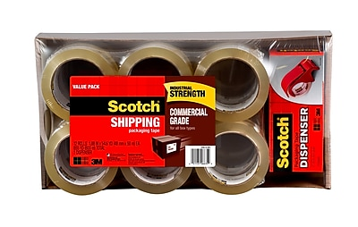 Scotch® Commercial Grade Packing Tape with Dispenser, 55 yds., Clear, 12 Rolls (3750-12-DP3)