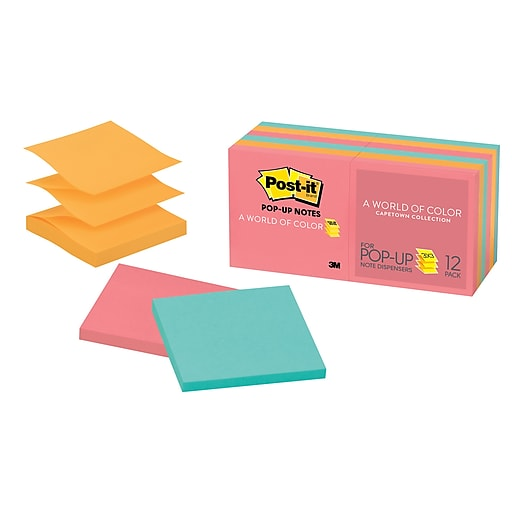 Post It Pop Up Notes Cape Town Collection 3 X 12 Pads Pack R330 12an Staples
