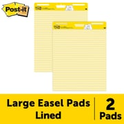 "Post-it®, Easel Pad, 25"" x 30"", Faint Blue Ruled, Yellow, 2/PK, (561)"