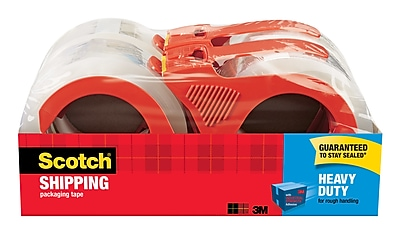 Scotch® Heavy Duty Shipping Packing Tape, 55 yds., Translucent, 4 Rolls/Pack (3850-4RD)