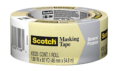 Scotch® Masking Tape for Production Painting, 60 yds., Tan (2020-2A-BK)
