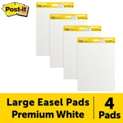 """Post-it® Super Sticky Easel Pad, 25"""" x 30"""", White, 30 Sheets/Pad, 4 Pads/Pack (559 VAD 4PK)"""