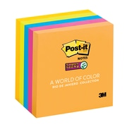 "Post-it® Super Sticky Notes, 3"" x 3"", Rio de Janeiro Collection, 5 Pads/Pack (654-5SSUC)"