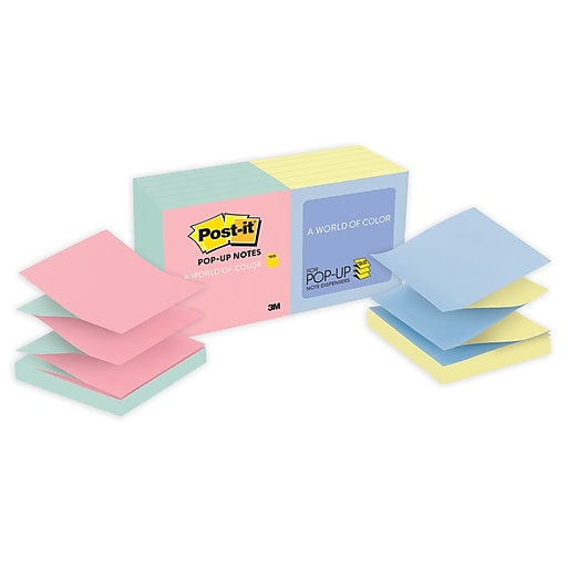 Post It Pop Up Notes Mille Collection 3 X 12 Pads Pack R330 U Alt Staples