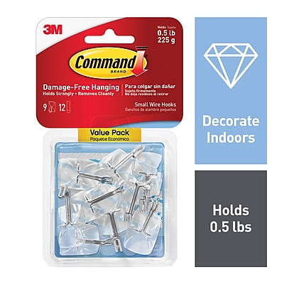 Command™ Small Wire Hooks, Clear, 9/Pack (17067CLR-VP)