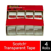 "Scotch Transparent Tape, Standard Width, Engineered for Office and Home Use, Clear Finish, 3/4"" x 23.6 yds., 4 Rolls (4814)"