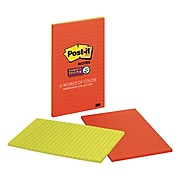 """Post-it® Super Sticky Notes, 5"""" x 8"""" Marrakesh Collection, Lined, 45 Sheets/Pad, 2 Pads/Pack (5845-SSO)"""