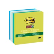"""Post-it® Recycled Super Sticky Notes, 3"""" x 3"""" Bora Bora Collection, 90 Sheets/Pad, 5 Pads/Pack (654-5SST)"""