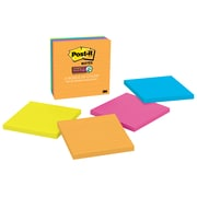 "Post-it® Super Sticky Notes, 4"" x 4"", Rio de Janeiro Collection, Lined, 90 Sheets/Pad, 4 Pads/Pack (675-4SSUC)"